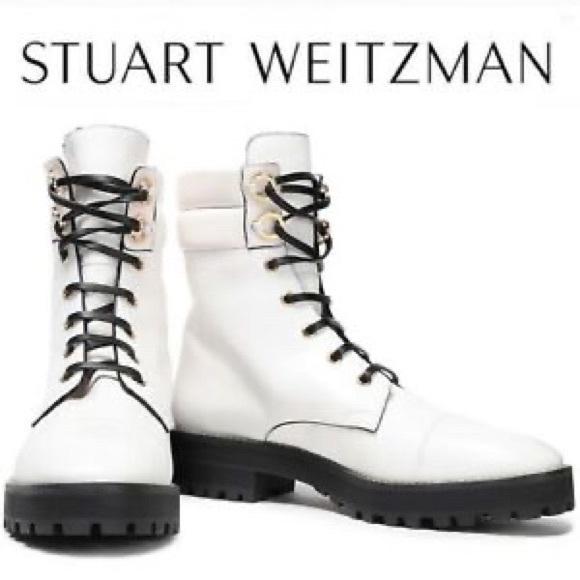 Stuart Weitzman White Combat Boots
